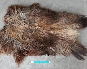 Icelandic Sheepskin- Natural Brown and SUPER Long Wooled Sheep Hide Lot No. 25185TURQ