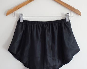 Shorts Vintage Womens Black Satin