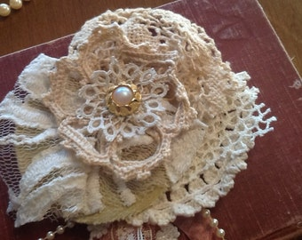 Gyspy, tattered fabric, flower pin, brooch, boho, special from rachel, handmade, weddings