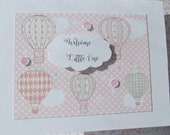 Welcome Baby Card - Baby Shower Card - Welcome New Baby Card - Hot Air Balloon Card - Baby Girl Card - Baby Boy Card - habb