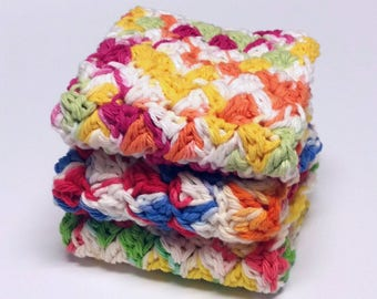 Dishcloths Washcloths Cotton Crochet Bright Multicolored Set of 3 Kitchen Facial Cloths Housewarming Gift