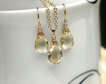 Oregon Sunstone Earrings Pendant Necklace Set | Champagne Oregon Sunstone Pear Briolettes in 14k Gold Filled | Birthday Gift Ready to Ship