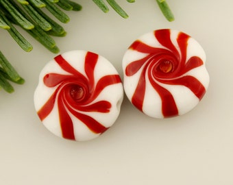 Lampwork Glass Beads Christmas Peppermint Beads, Earring Pair SRA
