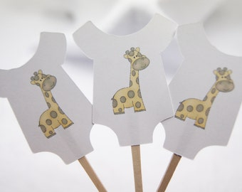 Baby Shower, Cupcake Toppers, Baby Shirt, Yellow, Giraffe, Girl, Boy, Party Picks, Food Picks, Set of 12 CT022
