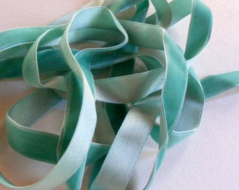 Vintage 1930's Silk Charmeuse Velvet Ribbon 5/8 Inch Robin's Egg