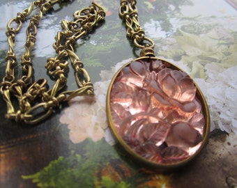 Vintage Rose Frosted Glass Relief Roses Necklace With Hand Linked Vintage Chain