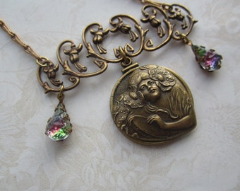 Art Nouveau Design Lily Of The Valley Necklace With Nouveau Lady Heart And Vintage Gems