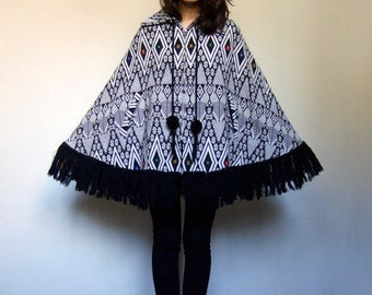 Womens Poncho Black White Fringe Coat Vintage Spring Cape Aztec Woven Cape Coat - Extra Small to Small XS S