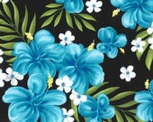 """SALE Blue and Black Tropical Cotton Sateen, Gertie by Gretchen Hirsch Fabric, 43"""" wide, 1 yard"""