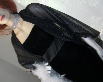 1980s Black Velvet Goth Elegant Evening Gown Jim Hjelm Satin Trim Size S/M Art Deco Goth Slinky Black Tie White Tie Stunning