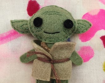 Yoda Brooch - handmade hand sewn embroidered wool felt may the force be with you pin accessory