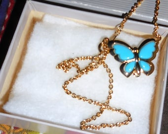 Avon Butterfly Necklace Turquoise / Avon Collectible 1970's  / Dead Stock