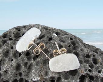 White sea glass beach glass post, stud earrings sterling silver SG9406