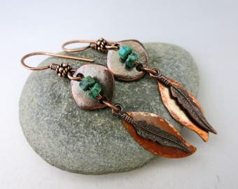 """Dream Feather Copper Earrings, 2 1/2"""" Long Dangles, Ready to Ship"""