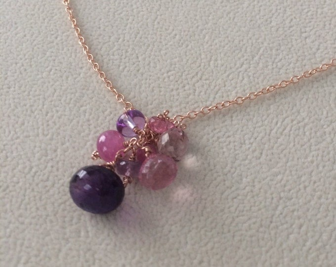 Semiprecious Gemstone Pendant in Rose Gold Vermeil with Moss Amethyst, Mystic Pink Quartz, Pink Sapphire, Amethyst