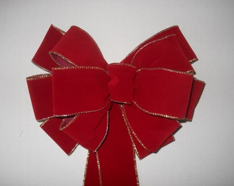 Hand Tied Red Velvet Bow With Gold Edges, (Contact Me When You Want More Than One)