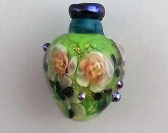 Murrini Floral Lampwork Bead Vessel -- SRA