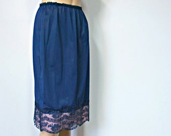 Vintage Half Slip Navy Blue Petticoat Lace Avian Size Medium