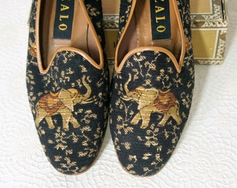 Vintage Elephant Fabric Shoes Zalo Flats Size 6 1/2