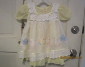 Rare VINTAGE  NITA'S 2 pc Toddler Girl Dress Pinafore 3 Appliqued embroidered flowers