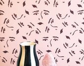 Land of Women Removable Wallpaper // Perfect for renters and DIY crafters // Fully removable // Mauve and Burgundy