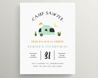 airstream trailer birthday invitation // camp out // camping party // baby shower // mint // cactus // note card // desert // modern