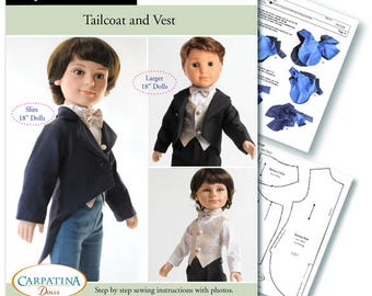 """Tailcoat and Vest PDF pattern Multi-sized for 18"""" Slim Carpatina Boy Dolls and for the larger 18"""" American Girl Boy Logan"""