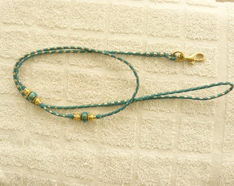 Braided Kangaroo Leather Dog Show Lead  - Aqua/Gold - 38""