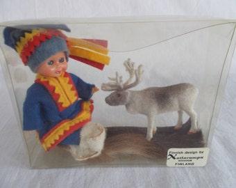 Vintage Sleepy Eye Finland Small Doll And Moose