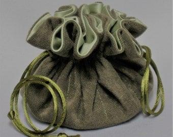 Jewelry Travel Tote---Drawstring Organizer Pouch---Olive Green Soft Suedecloth ----Medium Size