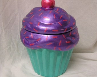 Purple Raspberry Sprinkles Dream Cupcake Jar Turquoise Bottom