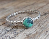 Dainty Turquoise Ring - Turquoise - Turquoise Rings - Stackable Rings For Women - Sterling Silver Turquoise Ring