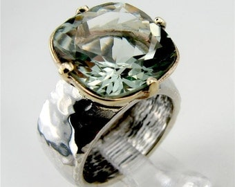 New Israel Handmade 9k yellow Gold 925 sterling Silver Green Amethyst Ring Any Size (I r377)