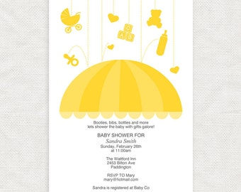 diy baby shower invitation template umbrella - printable download - baby sprinkle invites, boy or girl, gender neutral, yellow, design, rain