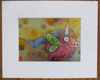 Pigicorn Matted Print of Painting by Kelly Green H-Baum Pigs Fly Pig Unicorn
