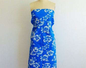 70s cotton Blue Hawaiian strapless sun dress size small