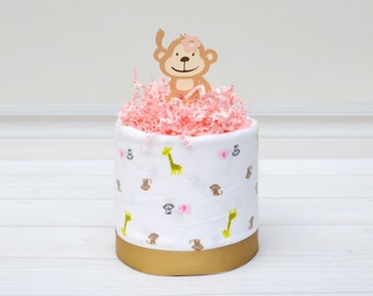 Monkey Baby Shower, Mini Diaper Cake, Girl Diaper Cake Centerpiece, Safari Baby Shower, Baby Girl Diaper Cake, Girl Baby Cake