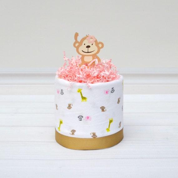 Monkey Baby Shower, Mini Diaper Cake, Girl Diaper Cake Centerpiece, Safari Baby Shower, Baby Girl Diaper Cake, Girl Baby Cake