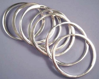 8 Silver Metal Bangle Bracelets / Metal Bangle Bracelet Set