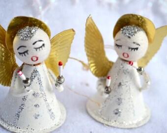 Vintage Christmas Ornaments - Spun Cotton Chenille Glitter Angels
