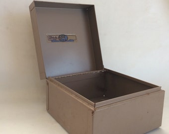 Vintage Metal Card File Box
