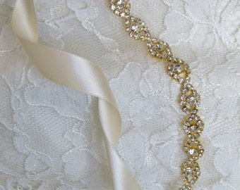 Gold Crystal Rhinestone Bridal Sash,Wedding sash,Belts And Sashes,Bridal Accessories,Bridal Belt and sashes,Ribbon Sash,Style #57