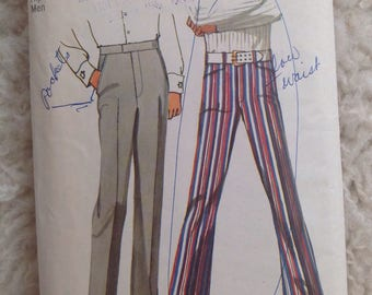 Simplicity 9736 Men's Pants and Jean-cut Bell-Bottom Pants  • size 30
