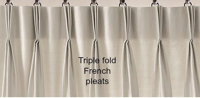 Triple pinch pleat designer drapes solid color linen sold - Comment faire des rideaux a plis francais ...
