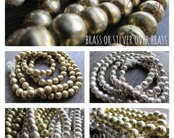 Choice of African Brass Beads, 9mm Brass Beads, African Beads, African Metal, Brass Beads, Silver over Brass Beads, Silver Beads