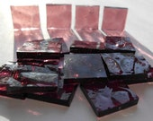 """100 Pieces 1/2"""" x 1/2"""" Pink Hammered Cathedral Stained Glass Mosaic Tiles Hand cut"""