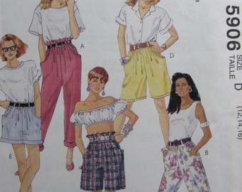 McCalls 5906/Uncut Sewing Pattern/Misses Pants and Shorts/Easy Sew/Size 12-14-16/1992