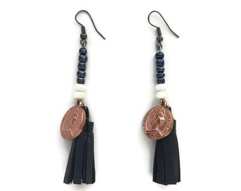 Womens Beaded Black Leather Tassel Dangle Earrings with Rose Gold plated Coins