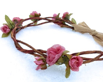 Pink Rose Flower Crown / Fairy Crown / Headband / Rustic Wedding / Renaissance / Festival