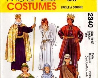 First Christmas Shepherd 3 Kings Angel Joseph Mary Theater School Play Costume Uncut Sewing Pattern McCall's 2340 Child Size 8-10 Medium